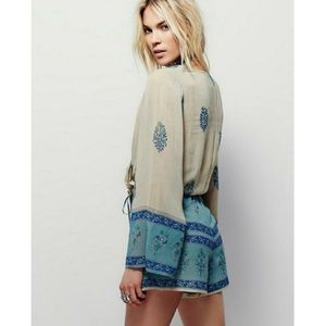 Free People Paisley Bell Sleeve Romper